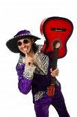 stock photo of shhh  - Man in funny clothing holding guitar isolated on white - JPG