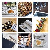 pic of buffet catering  - Buffet table set and caterers on a collage  - JPG