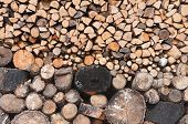 pic of firewood  - Firewood stacked up on top of each other in a pile - JPG
