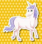 pic of unicorn  - White unicorn with yellow polka dot background - JPG