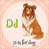 stock photo of letter d  - English flashcard letter D is for dog - JPG