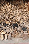image of firewood  - Firewood stacked up on top of each other in a pile - JPG