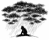 picture of depressed  - Man under stormy rainy clouds - JPG