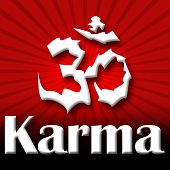 picture of karma  - Karma text written over red black burst background - JPG