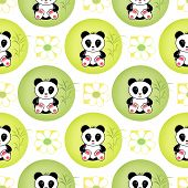 stock photo of panda  - Seamless asia panda bear kids illustration white background pattern - JPG
