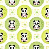 picture of panda bear  - Seamless asia panda bear kids illustration white background pattern - JPG