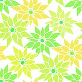 pic of neon green  - Seamless floral pattern with cute cartoon green neon flowers on light background - JPG