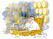 stock photo of gates heaven  - This illustration depicts St Peter sitting at a desk using a laptop with the Pearly Gates behind him - JPG