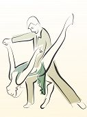 image of waltzing  - Abstract illustration of dancing couple made in line style for emblem - JPG