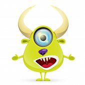 picture of centaur  - Green Cartoon cute monster isolated on white - JPG