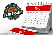 picture of free-trade  - Fair Trade graphic against may calendar - JPG