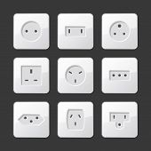 stock photo of electric socket  - White Electric Outlet Sockets Set - JPG