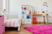 foto of schoolgirl  - Horizontal view of room design for schoolgirl - JPG