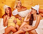 image of sauna  - Happy girlfriends relaxing in sauna - JPG