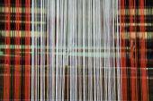 foto of silk worm  - Patterned silks of various colors for weaving - JPG