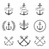 stock photo of anchor  - Set of anchor icons and logos - JPG