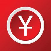 stock photo of yen  - Vector round white icon with yen symbol - JPG