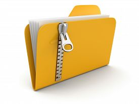 stock photo of zipper  - folder and lists with zipper - JPG