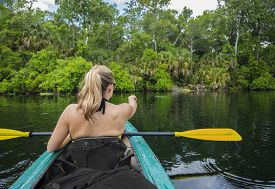 pic of kayak  - Woman kayaker pointing at an alligator in the water while on a kayaking trip down a beautiful tropical river - JPG