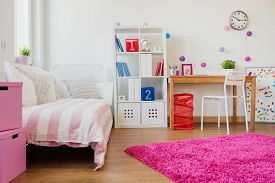 picture of schoolgirl  - Horizontal view of room design for schoolgirl - JPG