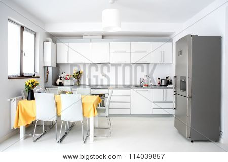 Interior Design, Modern And Minimalist Kitchen With Appliances And Table. Open Space In Living Room