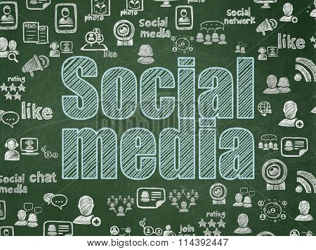 Social network concept: Social Media on School Board background
