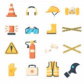 Safety work icons flat style. poster