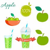 Постер, плакат: Green apple fruit and juice vector set