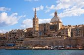 stock photo of olden days  - View of Valletta with Our Lady of Mount Carmel church dome Malta - JPG