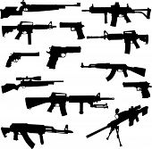 foto of ak47  - Vector silhouettes of the most known world legendary samples of pistols - JPG