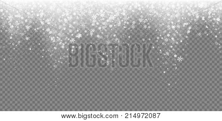 poster of Falling Snow Flake Pattern Background. White Cold Snowfall Overlay Texture Isolated On Transparent B