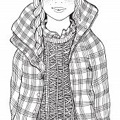 Winter Girl In A Checkered Jacket. poster