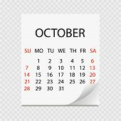 Monthly Calendar 2018 With Page Curl. Tear-off Calendar For October. White Background. Vector Illust poster