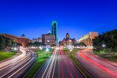Dallas, Texas, USA skyline over Dealey Plaza. poster