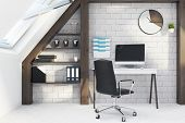 White And Wooden Home Office Interior Close Up poster