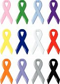 stock photo of causes cancer  - Twelve satin awareness ribbons symbolizing support of various social causes and research for finding cures for cancers and disease - JPG