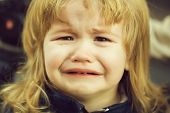 Little Boy Cries With Tears poster