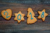 Cookies for new year with text 2018 space for your text.