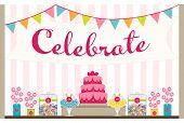 stock photo of cake pop  - Party table display with cake - JPG