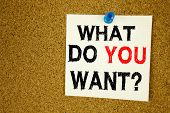 Hand Writing Text Caption Inspiration Showing Question What Do You Want Concept Meaning Goal Motivat poster