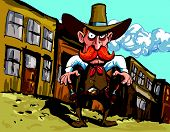 pic of sixgun  - Cartoon cowboy sheriff in a dusty town street - JPG