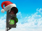 Happy new year 2018. Santa hat on the traffic light with green light 2018. 3d illustration poster