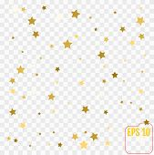 Gold Glitter Confetti Stars Background. Scatter On Top Made Of G poster