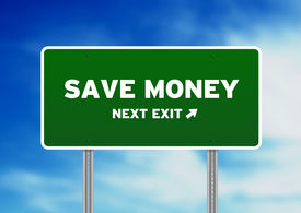 picture of save money  - High resolution graphic of a save money highway sign on Cloud Background - JPG