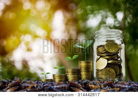 poster of Money Savings, Investment, Making Money For Future, Financial Wealth Management Concept. A Coins In