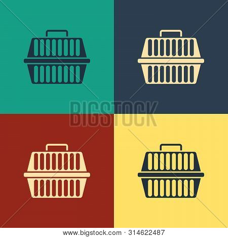 poster of Color Pet Carry Case Icon Isolated On Color Background. Carrier For Animals, Dog And Cat. Container
