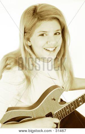 Beautiful Teen Girl Playing Electric Guitar poster