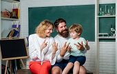 Cheerful Family Playing With Set For Creativity. Teachers Day. School Family. Home Family Math Schoo poster