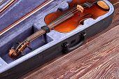 Vintage Violin In Velvet Case. Old Musical Instrument On Wooden Background. Classical Instrument Of  poster