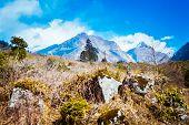 Beautiful Annapurna Mountain Range In Himalayan Range. poster